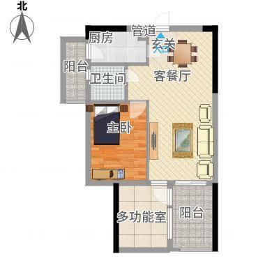 嘉誉蓝湾90.00㎡嘉誉蓝湾户型图B2户型图1室2厅1卫1厨户型1室2厅1卫1厨-副本
