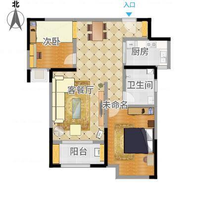 金地自在城75.00㎡A户型2室2厅1卫-副本
