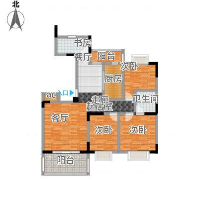 美堤雅城(一期)98.97㎡房型: 三房; 面积段: 98.97 -117.41 平方米;户型-副本
