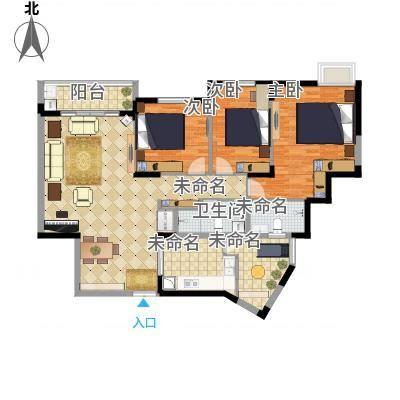 天和园户型3室2卫1厨-副本