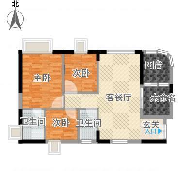 顺景蔷薇山庄四期88.11㎡第50栋3-16层0户型3室1厅2卫1厨-副本