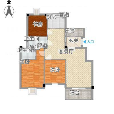 黄山豪庭123.00㎡B户型3室2厅2卫1厨-副本