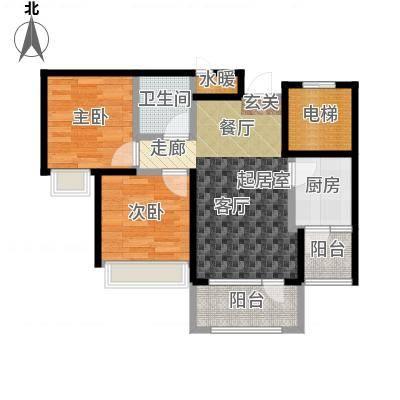 平谷蓝熙庭68.84㎡B户型 二室一厅一卫户型2室1厅1卫-副本