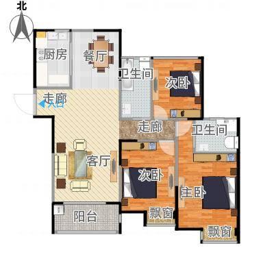 天润国际花园133.98平F户型三室两厅-副本