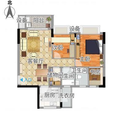 东田山畔华庭户型图2栋04户型91.34㎡二房二卫 2室2厅2卫1厨-副本-副本