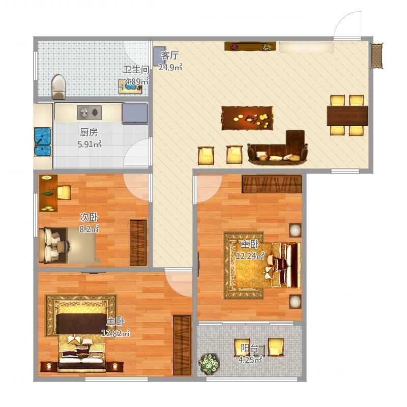 出租房格局设计图展示 (800x800)