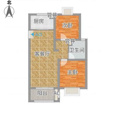 绿地观邸90.00㎡户型2室2厅1卫1厨-副本