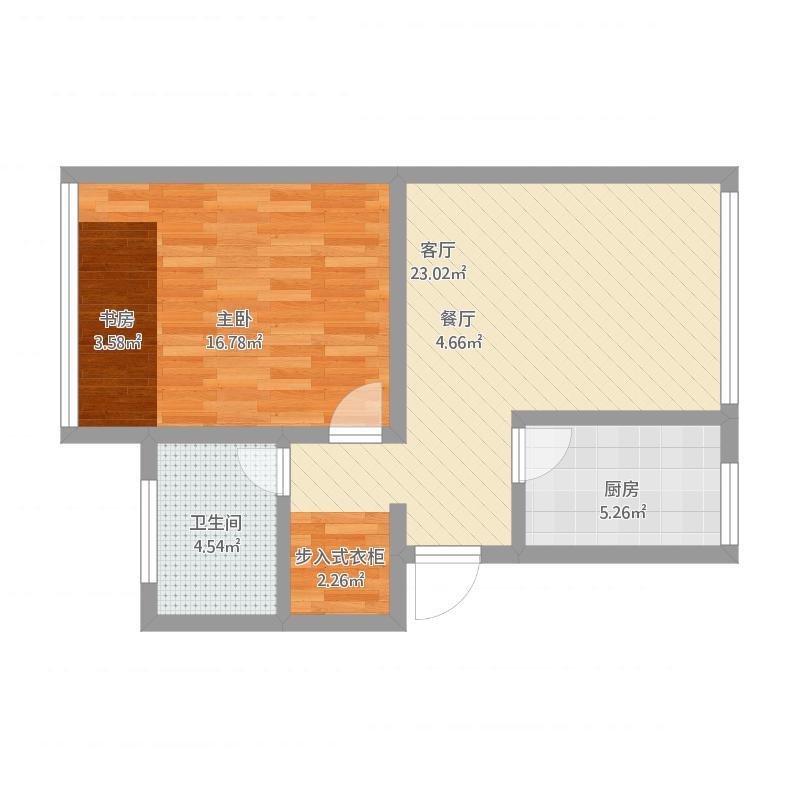 浙江 杭州 欧式田园风格单身公寓 户型图