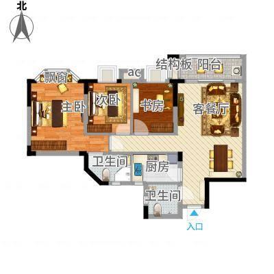 桥华楼94.89㎡桥华楼户型图一梯01单元3室2厅2卫1厨户型3室2厅2卫1厨-副本