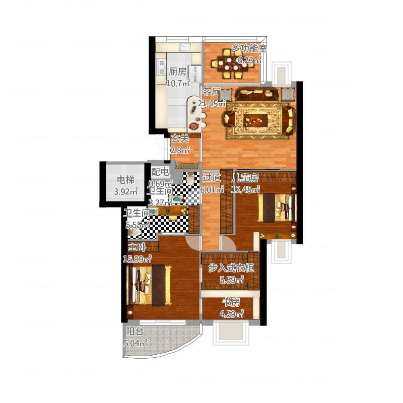 臥室帶步入式衣柜設計圖片展示