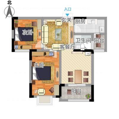 秦水名邸户型图一期313户型 2室2厅1卫-副本