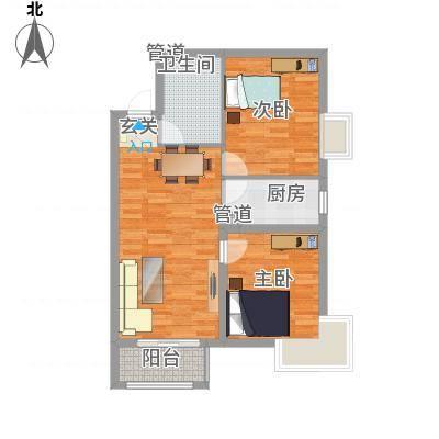 新天地二期・壹号院Q2户型2室2厅1卫1厨-副本