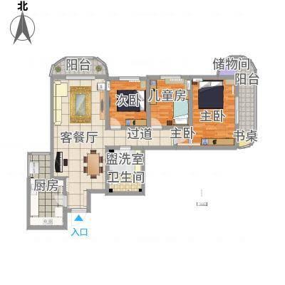 亚运豪庭136.89㎡户型3室2厅1卫1厨-副本-副本-副本
