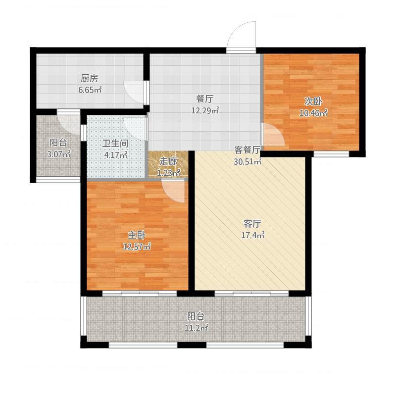 90平方米兩室兩廳一衛戶型2室2廳1衛-副本 戶型圖圖片