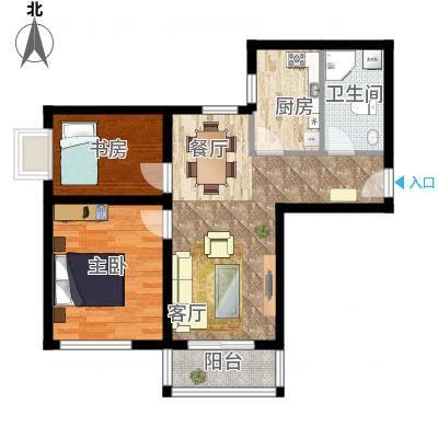 橙堡80.23㎡B户型2室2厅1卫-副本