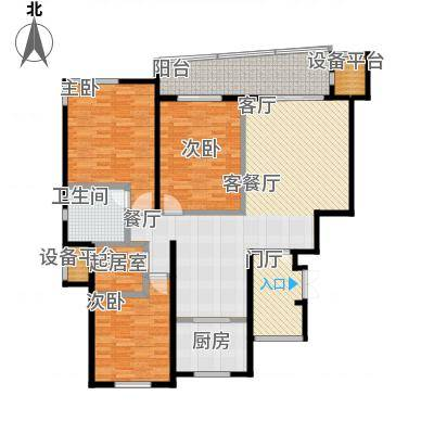 幸福家园128.00㎡花园三房A户型3室2厅2卫-副本