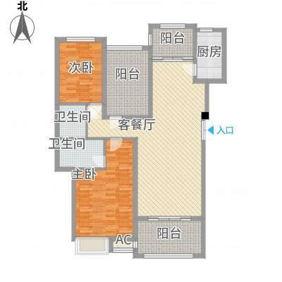 格兰小镇120.00㎡01栋洋房B户型2-2-2户型2室2厅2卫-副本