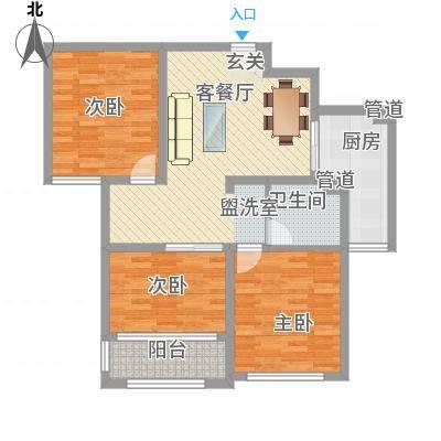 海情丽都15.14㎡高层B户型2室2厅1卫1厨-副本