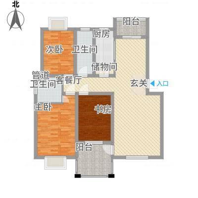 渝水华庭126.76㎡户型3室2厅2卫1厨