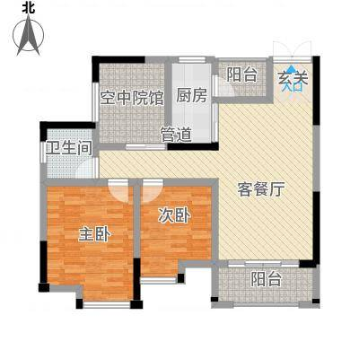 鸥鹏・天境321.20㎡E3户型2室2厅1卫-副本