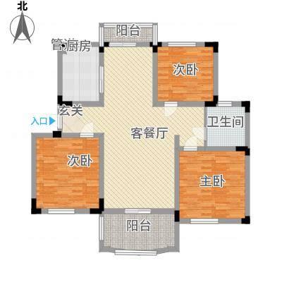 奇瑞龙湖湾户型图F户型 3室2厅1卫1厨-副本