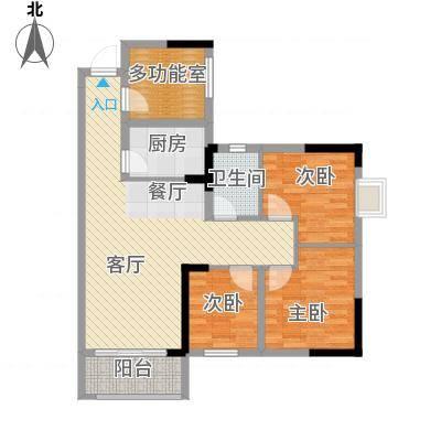 兰亭优壳89.00㎡户型3室1厅1卫1厨-副本