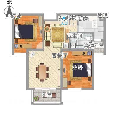 绿地崴廉公寓二期90.00㎡B户型2室2厅1卫1厨-副本