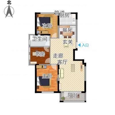 华亿红府108.00㎡华亿红府户型图住宅B-8户型图3室2厅1卫户型3室2厅1卫-副本