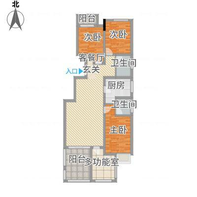 中铁滨江名邸12.00㎡A-B户型3室2厅1卫1厨-副本