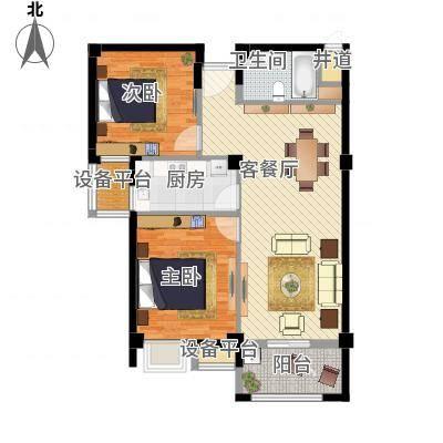 两室两厅一卫—两房朝南(中河名庭90㎡)