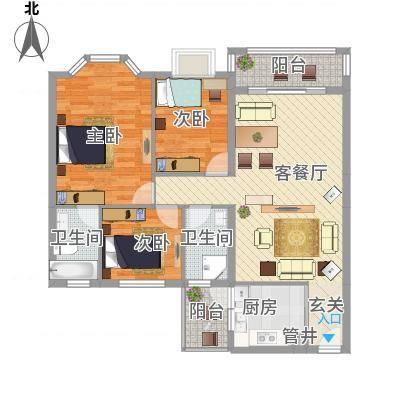 文海花园文海花园户型图A型平面图3室2厅2卫1厨户型3室2厅2卫1厨-副本