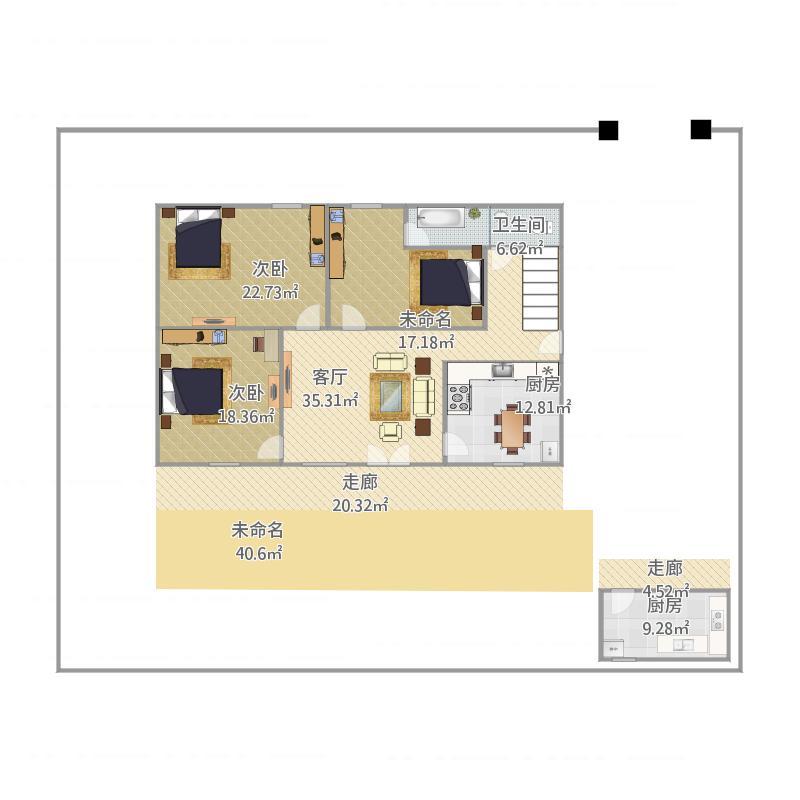 户型设计 农村自建房一层120户型图  建筑面积:163平方米 更新日期