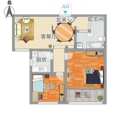 秦岭・贸易花苑88.81㎡C户型2室1厅1卫1厨-副本