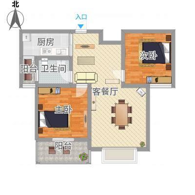 南阳藏珑90.46㎡南阳藏珑B户型2室2厅1卫1厨90.46㎡户型2室2厅1卫1厨-副本-副本
