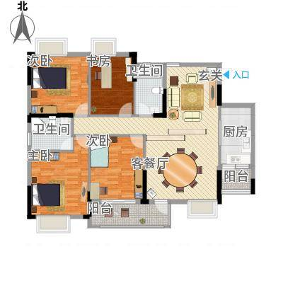 创美・世纪城137.31㎡户型4室2厅2卫1厨-副本