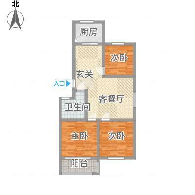 一品名郡16.35㎡三期2#楼边户D户型3室2厅1卫1厨-副本