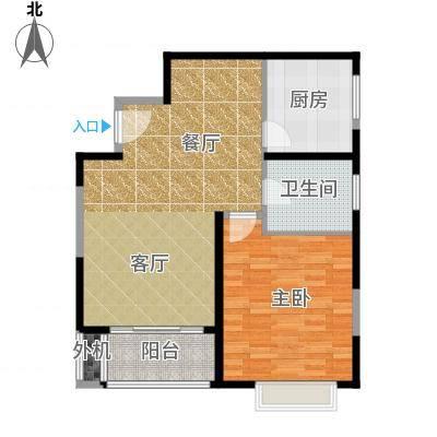 万里双子座74.00㎡房型: 一房; 面积段: 74 -75 平方米; 户型-副本