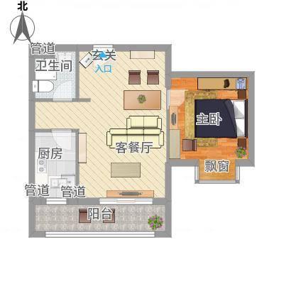 孔雀大卫城6.00㎡HB中间户型1室2厅1卫1厨-副本