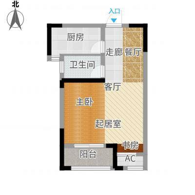 长宇棕榈湾58.00㎡G户型一房一厅一卫58平米户型1室1厅1卫-副本