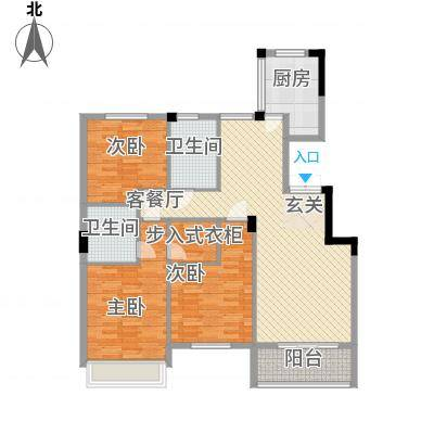 银座・东城丽景135.41㎡洋房边户D-3户型3室2厅2卫1厨-副本