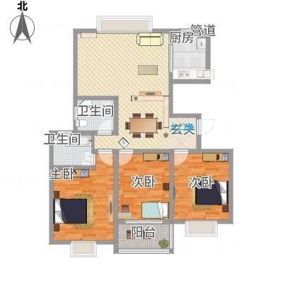 江南人家136.00㎡二期多层经典M户型3室2厅2卫1厨-副本