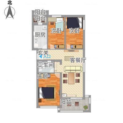 水荫路军区大院90.00㎡3室2厅户型3室2厅1卫1厨-副本