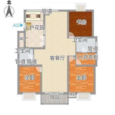 东苑古龙城154.00㎡E型户型3室2厅2卫-副本
