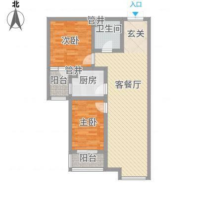 水岸茗苑户型图C1户型 2室2厅1卫1厨-副本