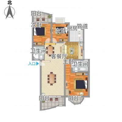 楠竹花园129.58㎡楠竹花园户型图3室2厅2卫1厨户型10室-副本