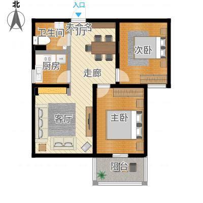 水岸金城2室2厅1卫 78.5平米户型2室2厅1卫-副本
