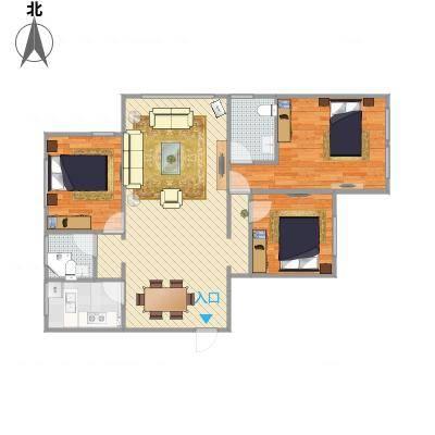 金色蓝庭90方A1户型两室两厅-副本-副本