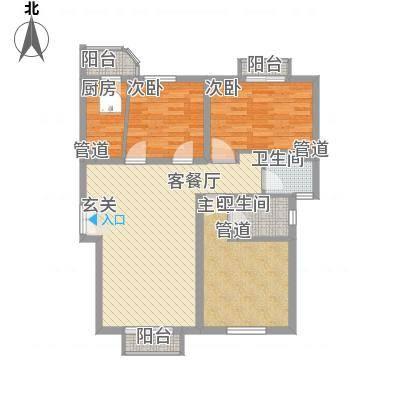 燕郊天洋城户型3室2厅2卫1厨-副本