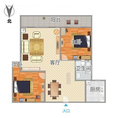 福满山庄106平大两房户型