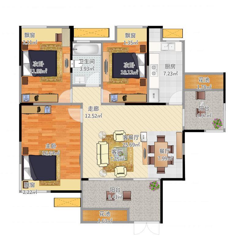 00㎡c1户型三室两厅一卫户型3室2厅1卫-副本